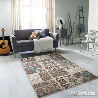 فرش ساوین 1501 آبی مدرن و فانتزی