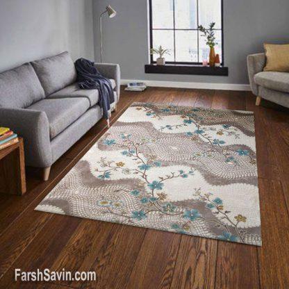 فرش ساوین 1503 آبی مدرن و فانتزی