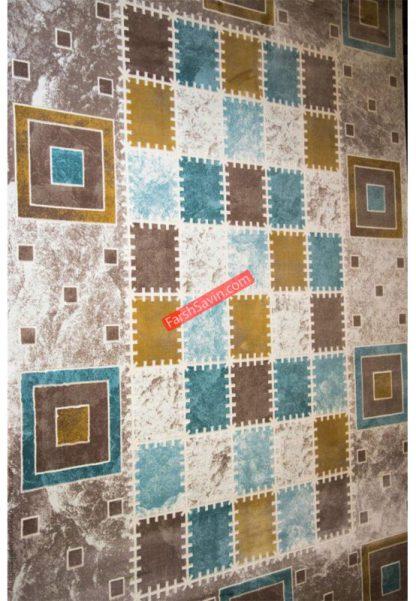 فرش ساوین 1504 آبی مدرن و فانتزی