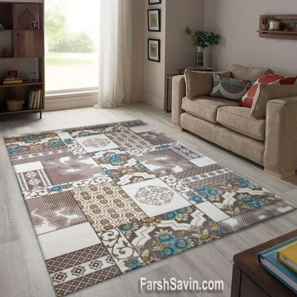 فرش ساوین 1509 آبی مدرن و فانتزی