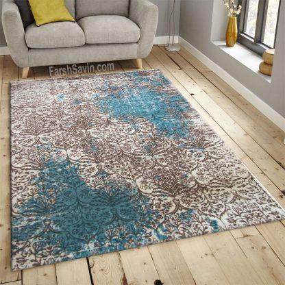 فرش ساوین 1514 آبی مدرن و فانتزی