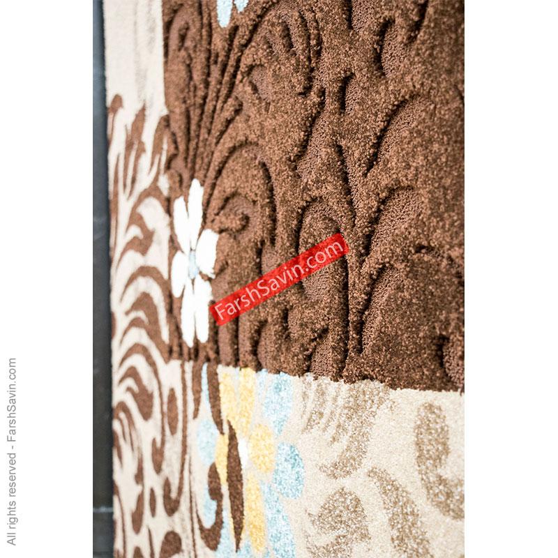 آفاق شکلاتی گلیم فرش ریزبافت ابریشمی فرش ساوین