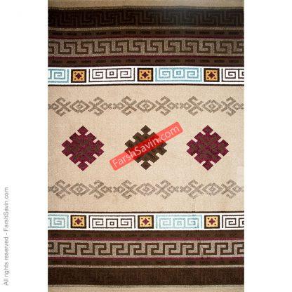 آریانا شکلاتی طرح گلیم فرش ربزبافت ساوین