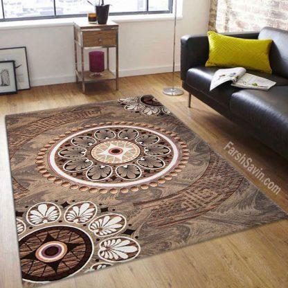 فرش ساوین آتنا گردویی مدرن و فانتزی