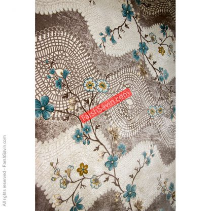 طرح 1503 آبی فرش فانتزی ابریشمی ساوین