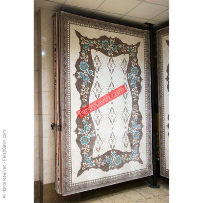 طرح 1507 آبی ابریشم گونه فانتزی فرش ساوین مازندران