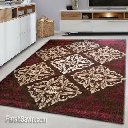 فرش ساوین کرانه قهوه ای مدرن فانتزی