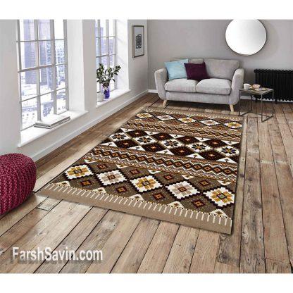 فرش ساوین پونه شکلاتی مدرن فانتزی