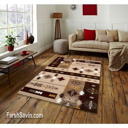 فرش ساوین کرانه شکلاتی مدرن فانتزی