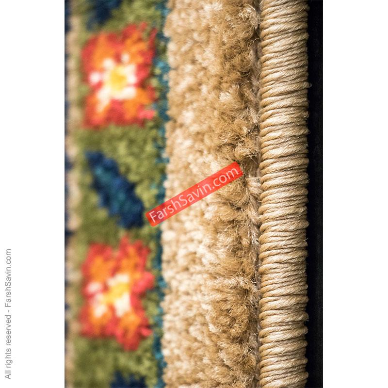طرح به رخ زمینه شکلاتی فرش ساوین