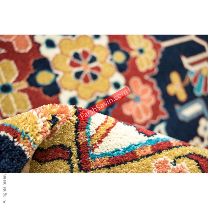 گبه ی ایرانی طرح مهربان سرمه ایی فرش ساوین
