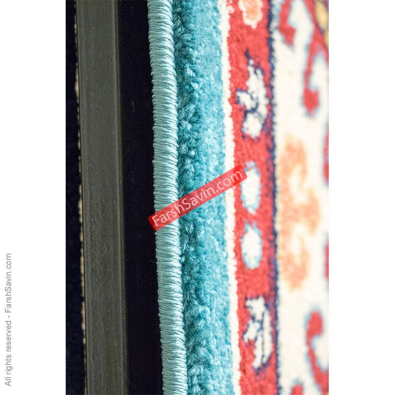طرح قشقایی آبی فرش ساوین