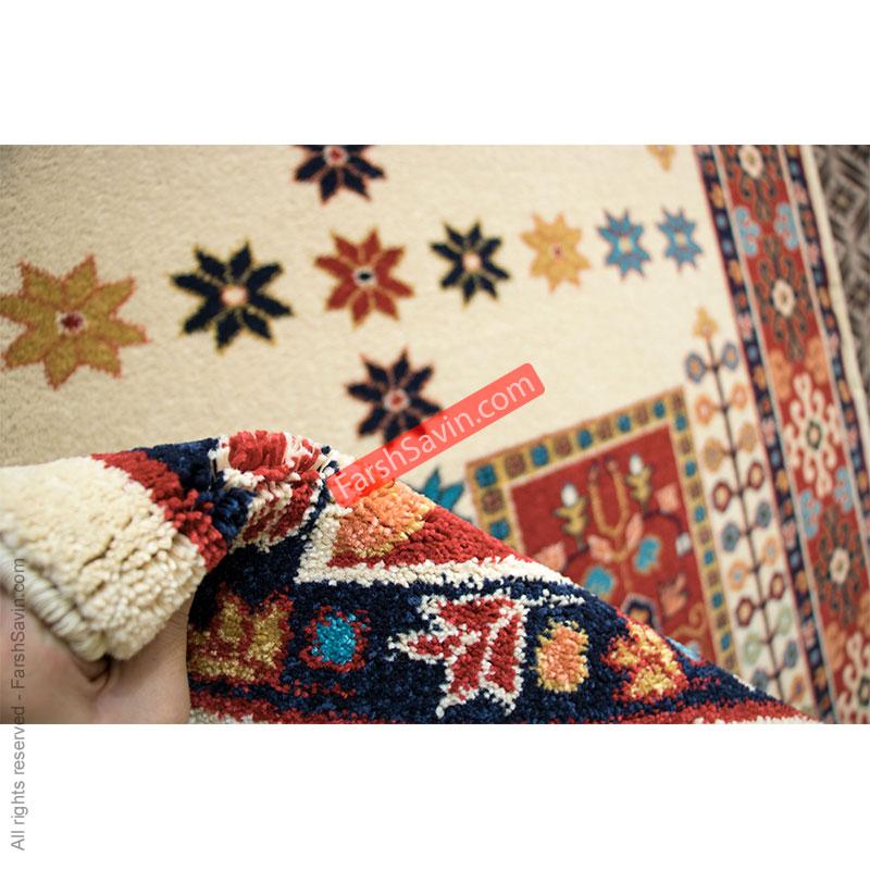 طرح قشقایی کرم فرش ساوین