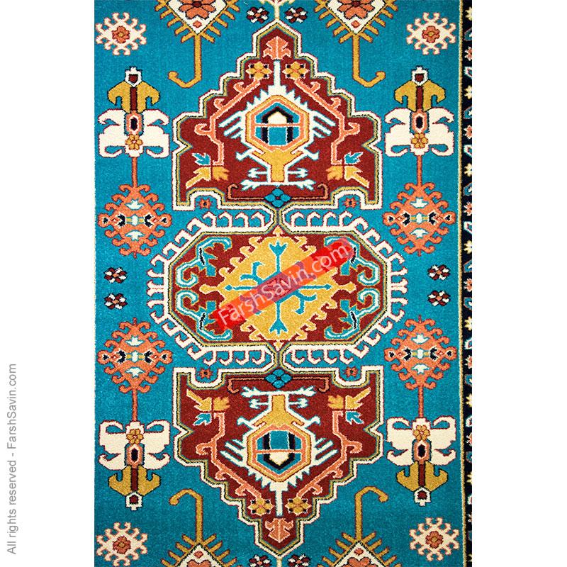طرح طوبی زمینه آبی فرش ساوین