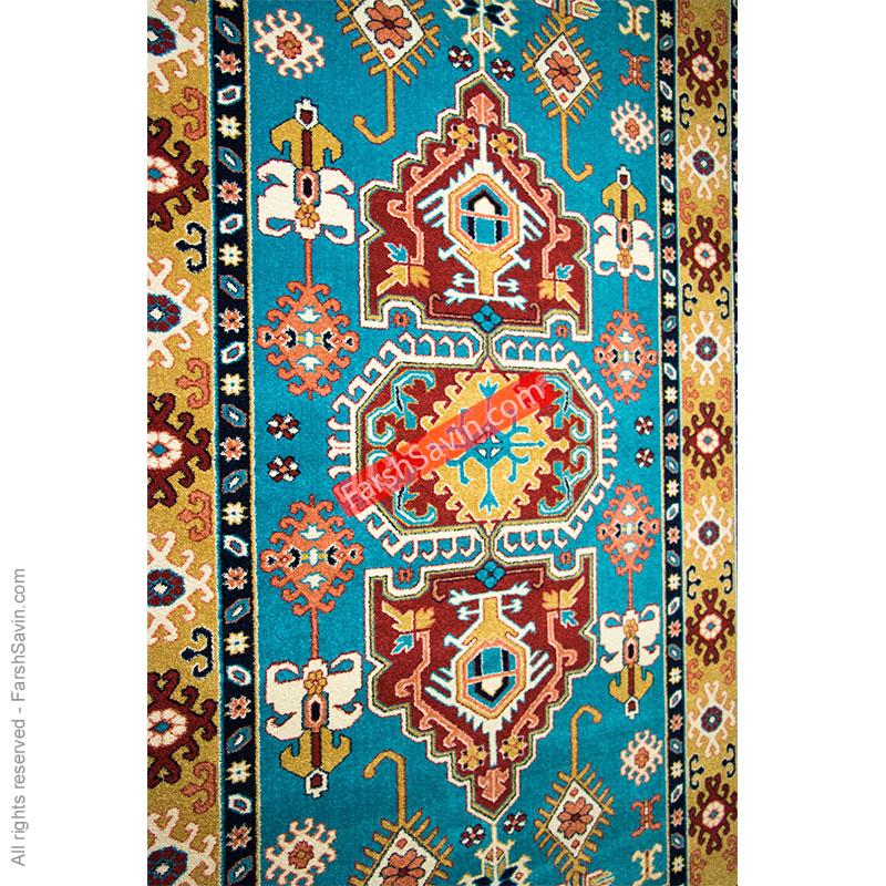 طرح ظوبی زمینه آبی فرش ساوین
