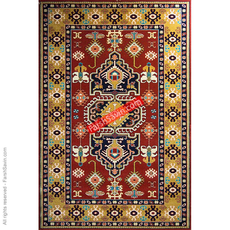 طرح طوبی زمینه لاکی فرش ساوین