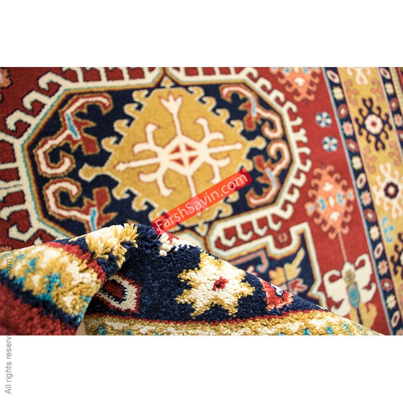 طرح گبه ی طوبی زمینه لاکی فرش ساوین