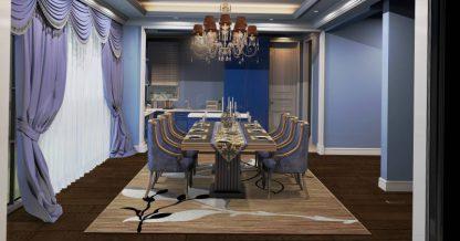 فرش ساوین 4000 شکلاتی مدرن و فانتزی فرش آشپزخانه