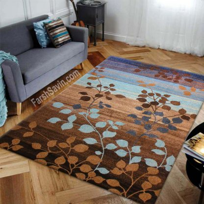 فرش ساوین 4001 زمینه شکلاتی مدرن و فانتزی