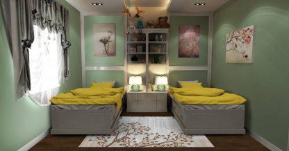 فرش ساوین 4006 نقره ای مدرن و فانتزی اتاق خواب