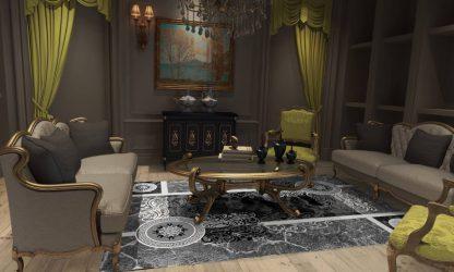 فرش ساوین 4010 مشکی مدرن و فانتزی اتاق پذیرایی