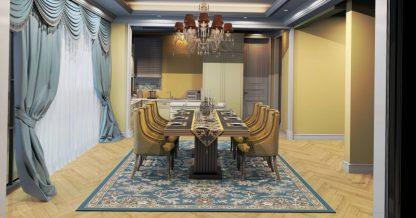 فرش ساوین 4041 آبی مدرن و فانتزی اتاق پذیرایی