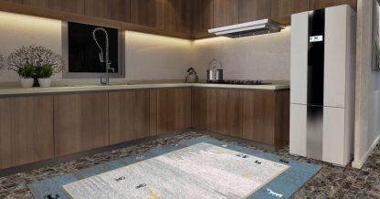 فرش ساوین 4064 آبی مدرن و فانتزی اتاق خواب
