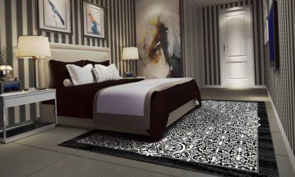فرش ساوین 4069 مشکی مدرن و فانتزی اتاق خواب