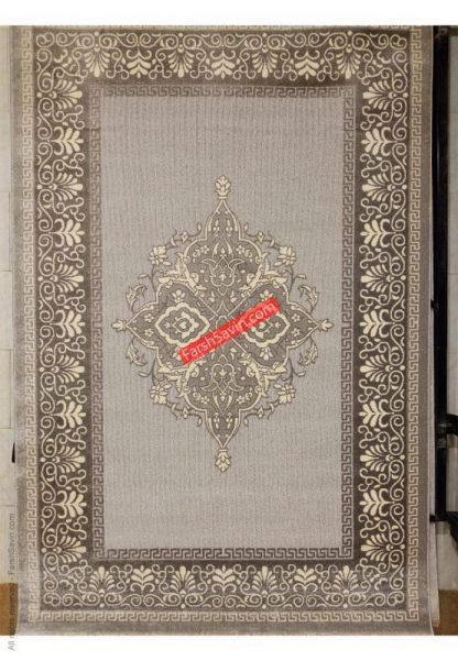 فرش ساوین 7405 نقره ای روشن اتاق پذیرایی