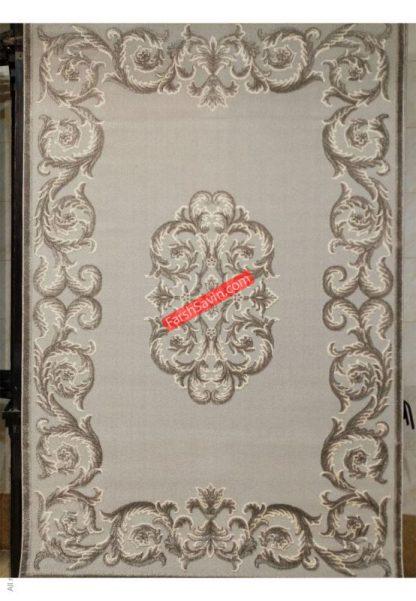 فرش ساوین 7406 نقره ای روشن اتاق پذیرایی