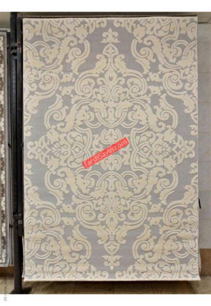فرش ساوین 7410 نقره ای روشن اتاق پذیرایی