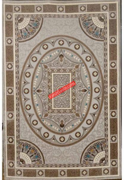 فرش ساوین 7418 نقره ای روشن اتاق پذیرایی