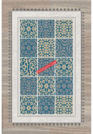 فرش ساوین آنتیک آبی مدرن و فانتزی اتاق پذیرایی