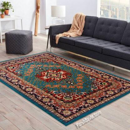فرش ساوین حوض کاشی آبی سنتی پذیرایی
