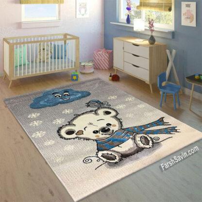 فرش ساوین خرس برفی اتاق کودک