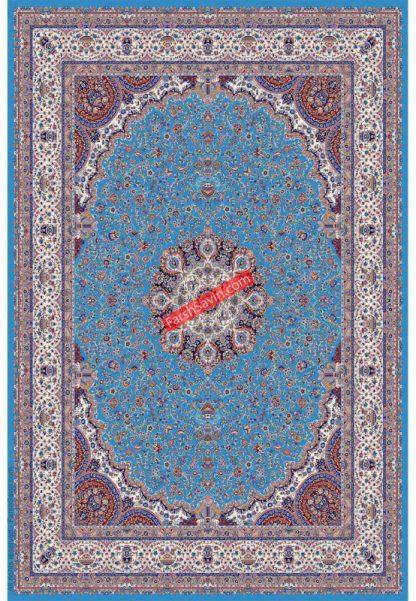 فرش ساوین 1574 آبی فیروزه ای کلاسیک پذیرایی