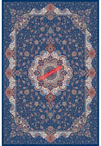 فرش ساوین 1575 آبی تیره کلاسیک پذیرایی