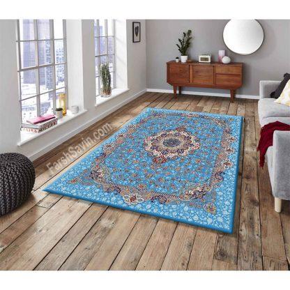 فرش ساوین 1575 آبی فیروزه ای کلاسیک پذیرایی