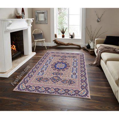 فرش ساوین 1576 بژ کلاسیک اتاق پذیرایی