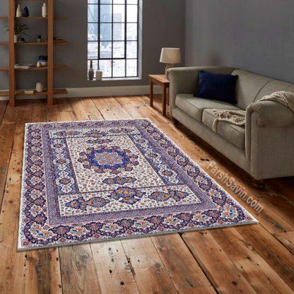 فرش ساوین 1576 کرم کلاسیک اتاق پذیرایی