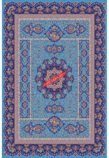 فرش ساوین 1576 آبی فیروزه ای کلاسیک پذیرایی