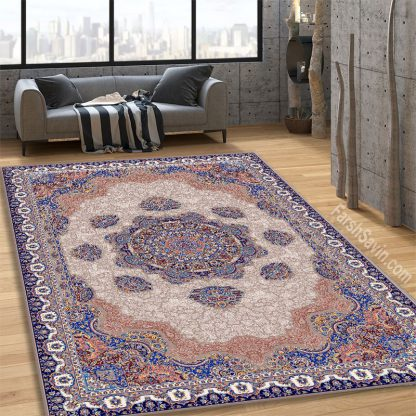 فرش ساوین 1577 بژ کلاسیک اتاق پذیرایی