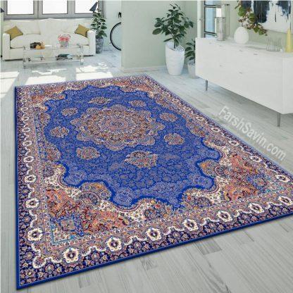 فرش ساوین 1577 آبی تیره کلاسیک پذیرایی
