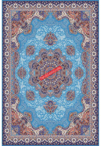 فرش ساوین 1577 آبی فیروزه ای کلاسیک پذیرایی