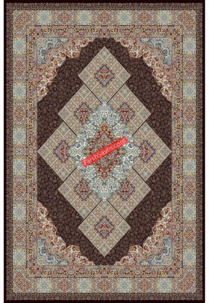 فرش ساوین 2051 قهوه ای کلاسیک پذیرایی