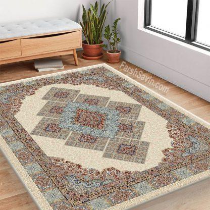 فرش ساوین 2051 کرم کلاسیک اتاق پذیرایی