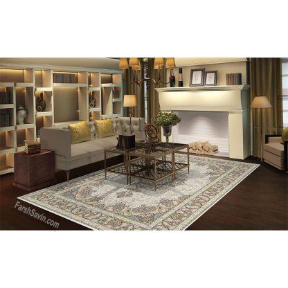 فرش ساوین 3000 کرم کلاسیک اتاق پذیرایی