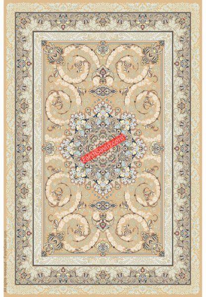 فرش ساوین 3001 بژ کلاسیک اتاق پذیرایی