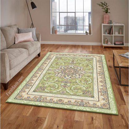 فرش ساوین 3001 سبز کلاسیک