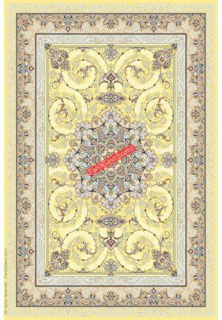 فرش ساوین 3001 زرد کلاسیک پذیرایی